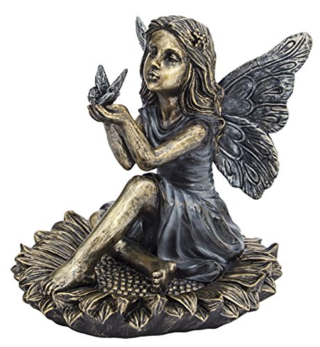 Sunflower Fairy Statuary - Great for Flower Gardens and Outdoor Sidetables