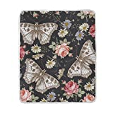 My Little Nest Warm Throw Blanket Butterflies Rose Wildflowers Floral Lightweight Microfiber Soft Blanket Everyday Use for Bed Couch Sofa 50'' x 60''