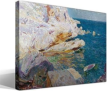 Cuadro Canvas Rocas de Jávea y el Bote Blanco de Joaquín Sorolla y Bastida