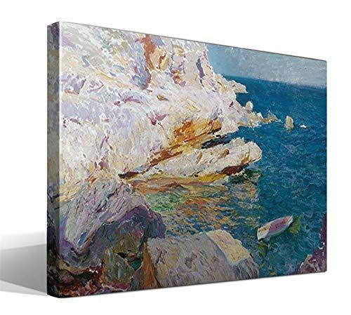 Cuadro Canvas Rocas de Javea y el Bote Blanco de Joaquin Sorolla y Bastida