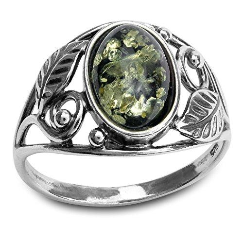 Sterling Silver Green Amber Oval Leaf (Oval Leaf Ring)
