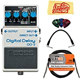 Boss DD-3 Digital Delay Bundle with Instrument Cable, Patch Cable, Picks, and Austin Bazaar Polishing Cloth