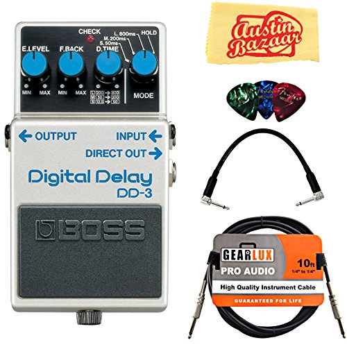 Dd3 Delay Pedal - Boss DD-3 Digital Delay Bundle with Instrument Cable, Patch Cable, Picks, and Austin Bazaar Polishing Cloth