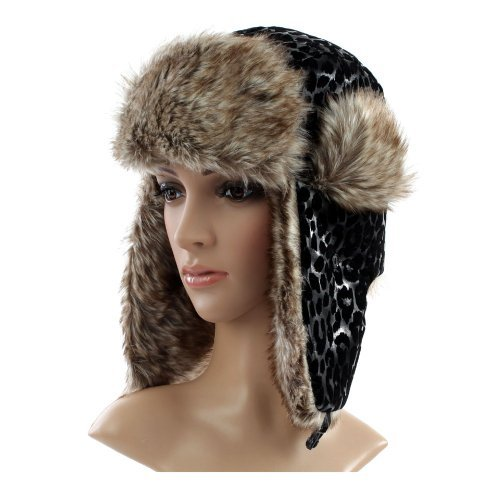 Accessoryo Women's Shiny Spotted Printed Fur Trapper Hat One Size Black