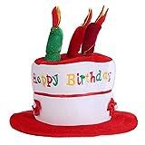 TiaoBug Unisex Kids Adult Happy Birthday Novelty Plush Cake Candle Hat Cap Funny Party Fancy Dress Accessory Red(unisex kids) One Size