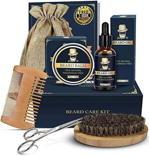 Beard Kit Gifts for Men, Beard Grooming Kit with Beard Growth Oil, Beard Balm, Beard Brush, Beard Comb, Beard Scissors, Fathers Day Gifts for Him Dad Husband Boyfriend