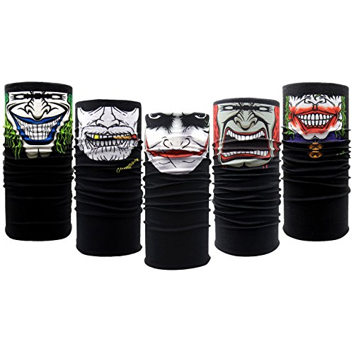 10PCS Riding Motorcycle Versatile Sports Half Face Mask Black Clown Bandana Seamless Universal Breathable Tube by CSPRING]()