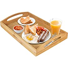 Greenco GRC2608 Rectangle Bamboo Butler Serving Tray with Handles