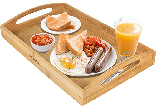 Greenco Rectangle Bamboo Butler Serving Tray With Handles (Serving Tray Breakfast)