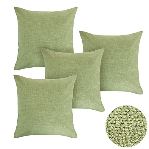 Deconovo Woven Fine Faux Linen Home Decorative Hand Made Pillow Case Cushion Cover With Invisible Zipper For Couch 18×18 Inch Light Lawgreen Set of 4