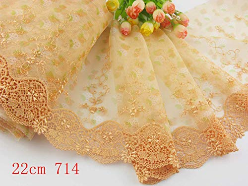 (Embroidered lace 3 Yards Delicate Embroidered Flower Tulle lace Trim for DIY/Doll Dress/Wedding Sewing/Craft (8.5 inch, Golden)