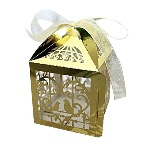 Gospire 50pcs Deluxe Party Wedding Favor Super Gift Laser Cut Pearl Paper Ribbon Candy Boxes Gift Box Bombonera Classical Bird Style Bright Gold