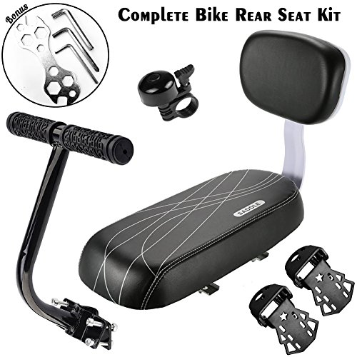 ADVcer Bike Rear Seat Cushion with Safety Backrest + Backseat Armrest Handrail + Foldable Hidden Bicycle Footrests + Handlebar Bell (Universal Cycling Kit + Installing Repairing Tools Set Bonus) Black