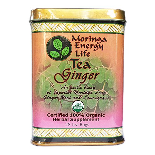 MORINGA GINGER TEA - USDA Organic, Exotic Blend of Fresh Moringa tea, Ginger Root and Lemongrass in a Combination that Helps to Soothe & Calm Your Stomach & Digestion with this Moringa Tea Ginger