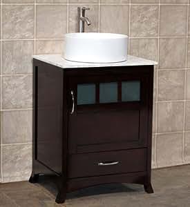 24 Bathroom Vanity Solid Wood Cabinet White Tech Stone Quartz Vessel Sink Tr5