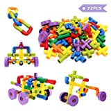 FUNTOK Building Blocks, Tube Blocks Set Assembling Toys DIY Pipeline Blocks with Wheels 72 pcs Interlocking Set Construction Building Blocks for Kids