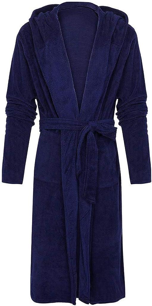 Robe de Chambre 2 Poches L/éger et Confort Taille S-5XL Peignoir de Bain /à Capuche Extra-Long pour Femme//Homme Ceinture et Boucle d/'Accroche Super Doux