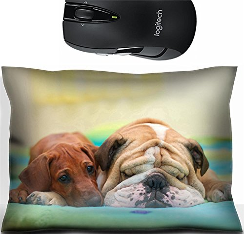 Liili Mouse Wrist Rest Office Decor Wrist Supporter Pillow IMAGE ID: 15971414 Rhodesian ridgeback puppy and english bulldog best dog friends relaxing on a bed Best Friend Bulldog