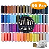 60 Assorted Color Polyester Sewing Thread Spools 250 Yards Each with Sewing Needles and Soft Measuring Tapes