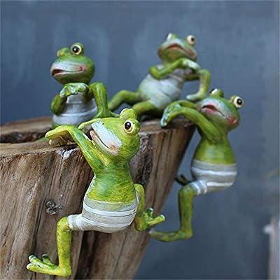 4Pcs Resin Climbing Frog Planter Pot Hanger Decorations Frog Flower Pot Resin Hanging Climbing Frog Animal Ornaments for Office Desk Home Garden Pot Decor : Garden & Outdoor