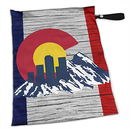Flag of Colorado Rocky and Skyline Stylish Waterproof Wet Dry Bags Zipper Diaper Pail Bag for Reusable Diapers Or ()