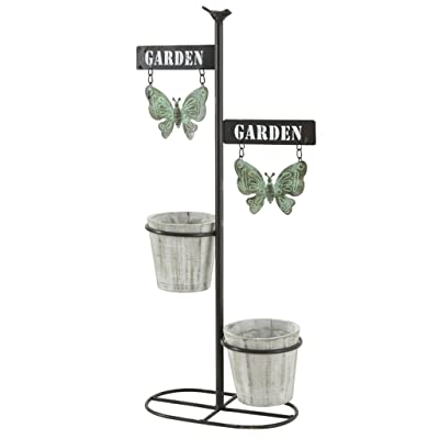 FLYSXP American Country Wrought Iron Balcony Flower Pots Decorative Indoor and Outdoor Decoration Store Flower Stand: Garden & Outdoor