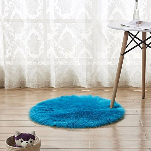 CHITONE Super soft Faux Fur Sheepskin Rug Shaggy Rug Round Area Rugs Floor Mat Home Decorator Carpets Kids Play Rug, (8' Diameter,Dark Blue) - Colorful Places Seating Rug