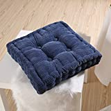 YunNasi Corduroy Cushion Square Chair Seat Pads 15.7''x15.7'' Blue