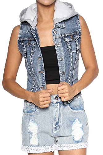 75dfd3223d8a7 TheMogan Women s Fleece Hooded Med Blue Washed Denim Vest Medium S ...