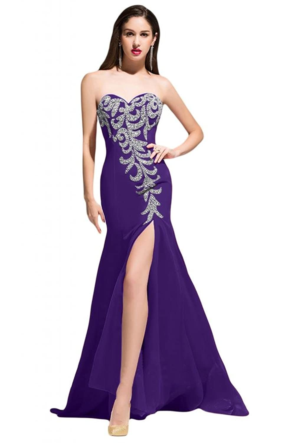 Sunvary Spaghetti Strap Satin V Neck Ball Gowns for Party Cocktail