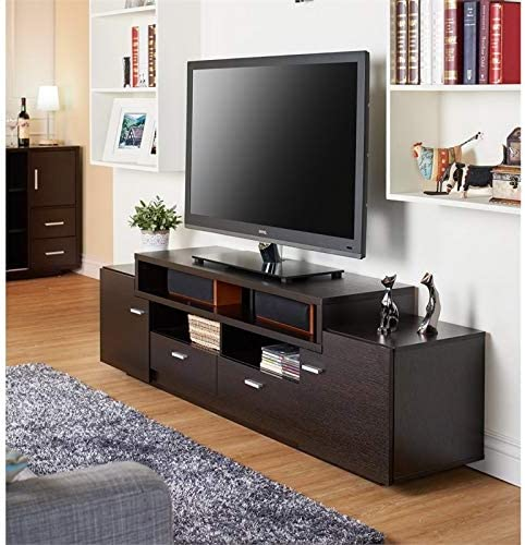 Furniture of America Braswell Wood 72-Inch Multi-Storage TV Stand