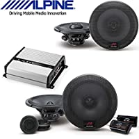 Alpine 6.5 Inch 300W Component 2-Way Car Speakers R-Series 6.5 Inch 300 Watt Component Pair JL Audio JX400/4D 4-channel car amplifier 70 watts RMS x 4