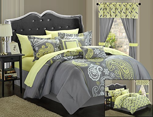 Comforter Sets Matching Curtains - Chic Home Olivia 20-Piece Comforter Set Reversible Paisley Print Complete Bed in a Bag with Sheet Set, Window Treatments, and Decorative Pillows, Queen Grey/Yellow