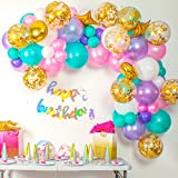 Shimmer and Confetti 82 Pack Unicorn Balloon Arch and Garland Kit with 64 Pink, Purple and Aqua Blue Balloons, 10 Gold Confetti Balloons, 4 Foil Balloons, 16 foot Balloon Strip, Glue Dots, Fishing Line