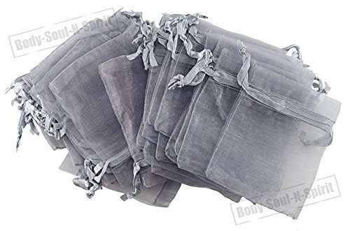 "200 Silver Organza Drawstring Gift Bags 4.33""x6.5"" for Je..."