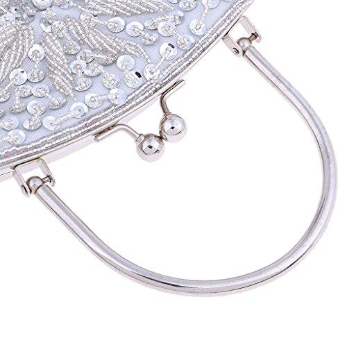 Silver Bling Prom Beads Clutch Sequined Party Baoblaze Purse Decor Evening Bag Bride Wedding 8dBqS7w