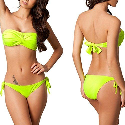 Sidiou Group Bikini bañador, nuevo bañador original de alta calidad por Señorita que concentra en el pecho, Pantalón lazado de baño con amarradura, bañador de poliéster de alta calidad. verde fluorescente