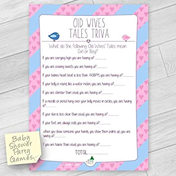 Baby Shower Gender Reveal Game Old Wives Tales Trivia 10 Sheets