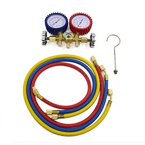 eDealMax válvula de 3 vías dual de Manómetros de acondicionador de aire de carga Pruebas de Evacuación
