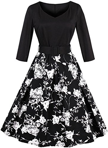 3/4 sleeve black and white dress - 7