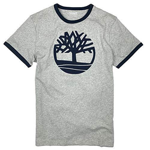 Timberland Men's Men's Crackle Tree Logo Ringer T-Shirt (Gray, Large)