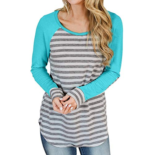 ZTTONE Blouse Womens Long Sleeve O-Neck T-Shirt Striped Print Elbow Patch Tops