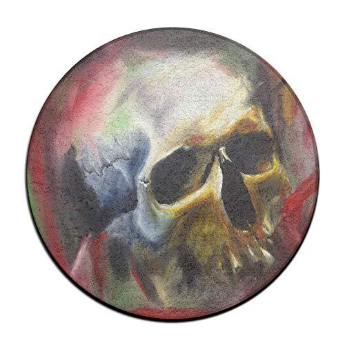 Laurel Non-Slip Round Rug Skull Painting Entrance Doormat Floor Pet Kids Mat Shoes Scraper Diameter 23.6 inch]()