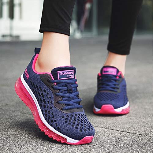 Donna Unisex Air Basse da Casual Scarpe Corsa Interior rossa Blu Ginnastica rosa Sportive Uomo Fitness MIMIYAYA all'Aperto Sneakers Running qRdWER