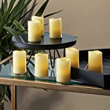 8 Ivory 3'' Flameless Votives with Warm White LEDs, Mini Wax Candles, Melted Edge, Batteries Included