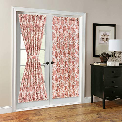 (French Door Panel Curtains Paisley Scroll Printed Linen Textured French Door Curtains 72 inches Long French Door Panels, Tieback Included, 1 Panel, Poppy Red)