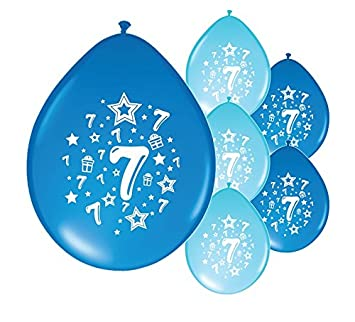 10 X 7th BIRTHDAY BOY AGE 7 BLUE AND LIGHT PACK BALLOONS PA Amazoncouk Toys Games