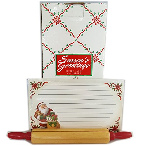 Season's Greeting Recipe Cards with Rolling Pin Holder ()