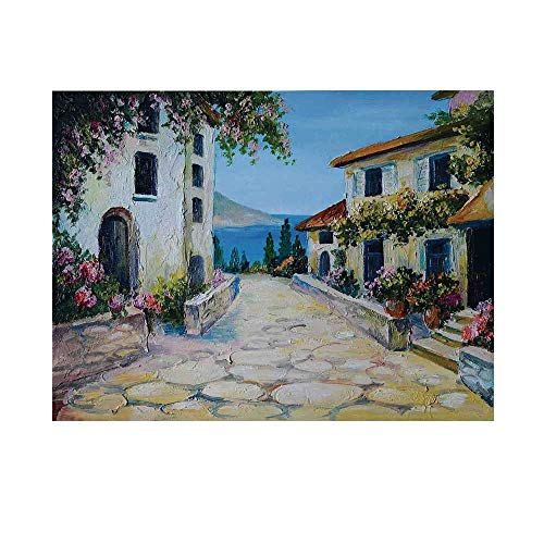 Rustic Photography Background,Vintage Houses in Village Near The Sea with Colorful Plants Artistic Backdrop for Studio,20x10ft
