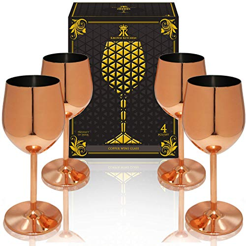 Krown Kitchen - Copper Wine Glasses. Perfect Gift for Family and Wine Connoisseurs (Glasses Hammered Copper Wine Stemless)